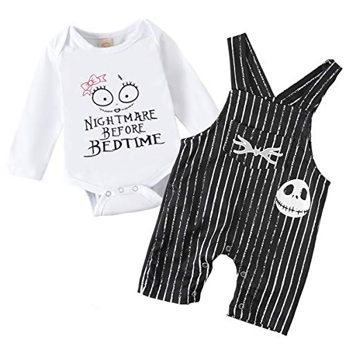 Baby Boy Girl Clothes 2PCs Outfit Set Nightmare Before Bedtime Skull Christmas Clothing Set (Girl Black, 0-3 Months)