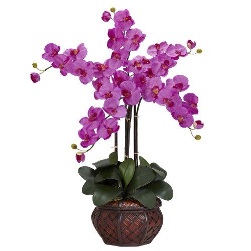 Nearly Natural 1211-OR Phalaenopsis with Decorative Vase Silk Flower Arrangement, Orchid,12