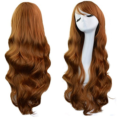"""Rbenxia Curly Cosplay Wig Long Hair Heat Resistant Spiral Costume Wigs Anime Fashion Wavy Curly Cosplay Daily Party Brown 32"""" 80cm"""