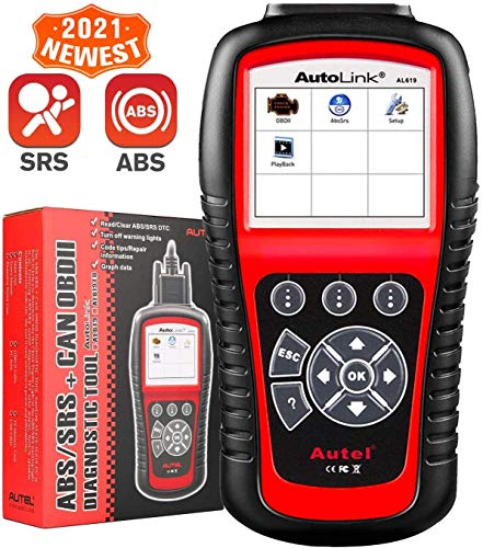 Autel AutoLink AL619 OBD2 Scanner ABS SRS Airbag Warning Light Scan Tool, Turn Off Check Engine Light Car Diagnostic Tool, View Live Data, Freeze Frame Data