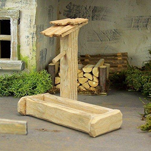 Krippenbau-Lewen Brunnen mit Tränke. Natur, braun oder grau. 9,5 cm hoch. Für Weihnachtskrippe, Brunnen:Brunnen braun W1040