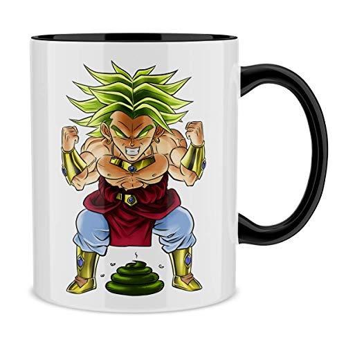 Mug avec anse et intérieur de couleur (Noir) - parodie Dragon Ball Z - DBZ - Broly le guerrier millénaire - Super Caca Vol.3 - le Caca Millénaire (Mug de qualité supérieure - imprimé en France)