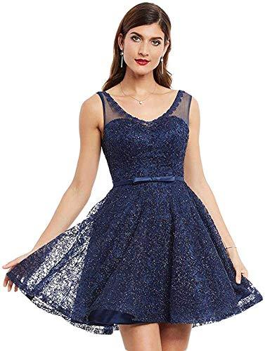 LIFU Vestido de Novia de Encaje Vestido de Fiesta Apliques sin Mangas Mini a Line Vestido de Mujer Cuello en V Vestidos de Fiesta Formales Cortos-1_16