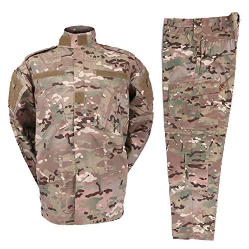 Zhiyuanan Herren Tactical Camouflage Uniform Anzug 2 Stück Sets Outdoor Jagd Trekking Camping Militär Kampf wasserdichte Wandern Jacken + Camo Hosen Tarnmuster Kleidung CP XL