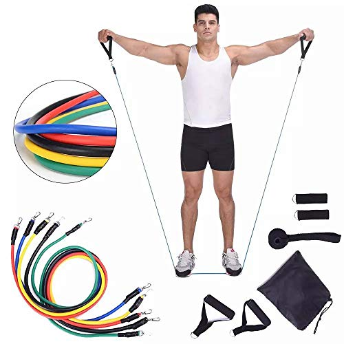 beootcr 11pcs/Set Pull Rope Set Webbing Resistance Bands Set - Home Suspension Training kit - 5 different levels of resistance bands for Indoor Outdoor Sport S-02L
