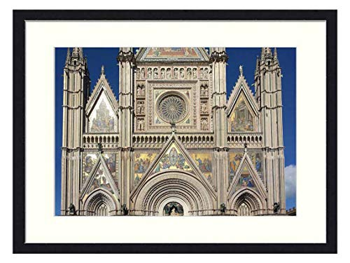Wall Art Print Wood Framed Home Decor Picture Artwork(24x16 inch) - Duomo Orvieto Church Gothic Italy Umbria Tourism