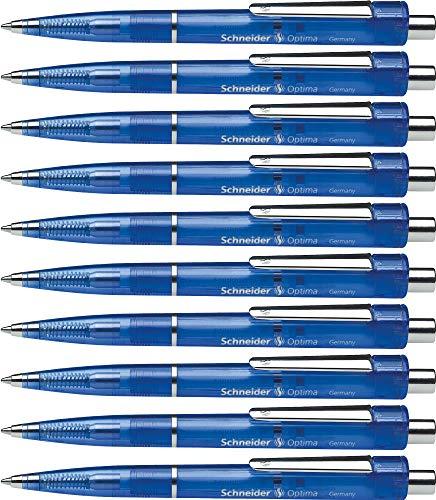 Schneider Optima Druckkugelschreiber (Strichstärke M, dokumentenecht) 10 Stück, blau-transparent