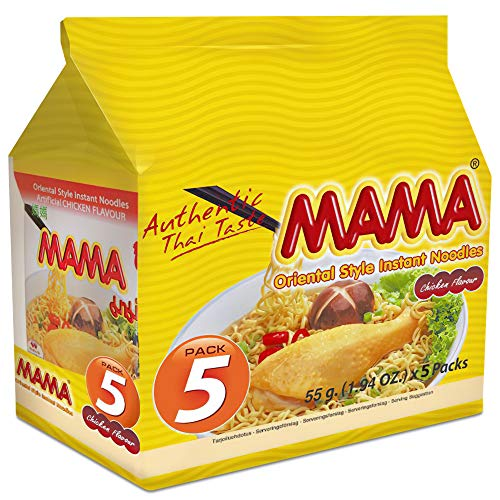 MAMA Noodles Chicken Family Pack Instant Spicy Noodles with Delicious Thai Flavors, Hot And Spicy Noodles with Chicken Soup Base, No Trans Fat with Fewer Calories (Chicken Flavor, 5 Pack)