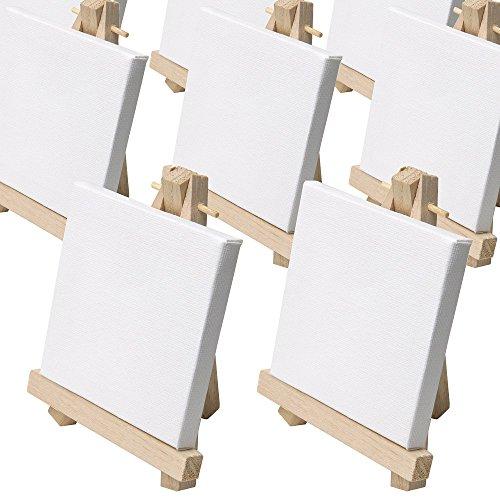 Artina - Set de 50 Mini-caballetes de Pintura - Caballetes de Mesa instalador de 9 x 11cm - con Lienzo de 8x8cm