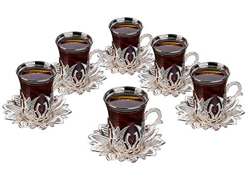Luxury Turkish Tea Set with Saucers for 6 People - New Gold and Silver Tulip Flowered Design 12 Pieces Set - Great Vintage Housewarming Gift Tea Cups Set for Women, Men, New Home and Adults (Silver)