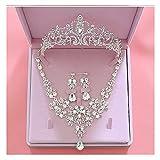 Ownlife Moda Cristal Boda Joyería Nupcial Conjuntos de la joyería de Las Mujeres Novia Tiara Coronas Pendiente Collar de la joyería de la Boda Accesorios para el Cabello