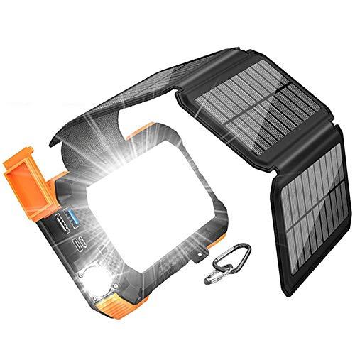 Cargador Solar 26800Mah Portátil Solar Charger con Panel Solar Plegable Y Luz LED Impermeable Fast Charger Outdoor External Battery para Teléfonos Inteligentes iPad Y Más