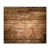 Tulup Glas Herdabdeckplatte Ceranfeldabdeckung Spritzschutz Glasabdeckplatte Kochplattenabdeckung und Schneidebrett - Zweiteilig - 2x30x52 cm - Sonstige - Holz - Braun