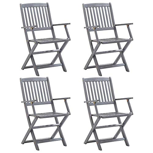 Autoshoppingcenter 4 pcs Folding Garden Chairs Wooden Foldable Armchairs Directors Chair Outdoor Picnic Camping Backyard Yard Portable Dining BBQ Seat Solid Acacia Wood,Grey【UK STOCK】