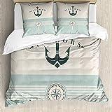 ABAKUHAUS Nautisch Bettwäsche Set für Doppelbetten, Altmodisch Maritim Anker, Weicher Microfaserstoff Allegigeignet kein Verblassen, Seafoam Beige