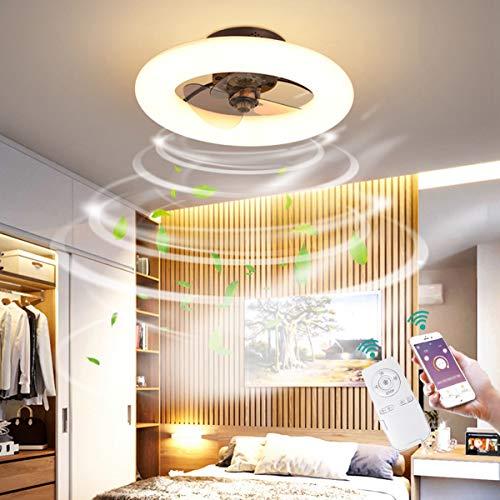 Dagea Moderno LED Iluminación de Techo con Ventilador, 48W Regulable Techo Ventilador Lámpara con Mando a Distancia Velocidad del Viento Ajustable Ventilador para Sala Comedor Habitación Ø50CM,Marrón