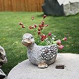 Cutfouwe Garten Ornamente Nette Ente Tierblumentopf Wasserdicht Magnesiumoxid Garten-Statue Für...