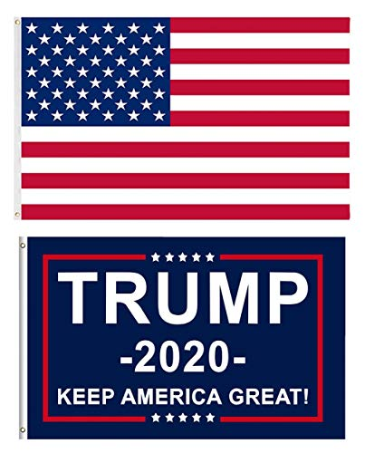 Flagge Donald Trump für Präsidenten-Wahlkampagne 2020 Keep America Great Flag für 2020 US Flags All Aboard The Trump Train Flagge 90 x 150 cm mit Messingösen, Stoffflaggen (Blau US Great+US Flaggen)