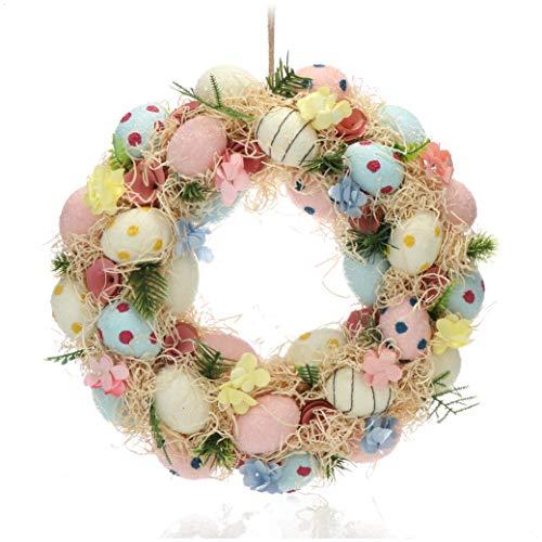 com-four Corona di Pasqua con Uova di Pasqua Colorate, Ghirlanda Decorativa da Tavolo, usata Come Ghirlanda per Porta con Un Gancio, Diametro ca.32 cm