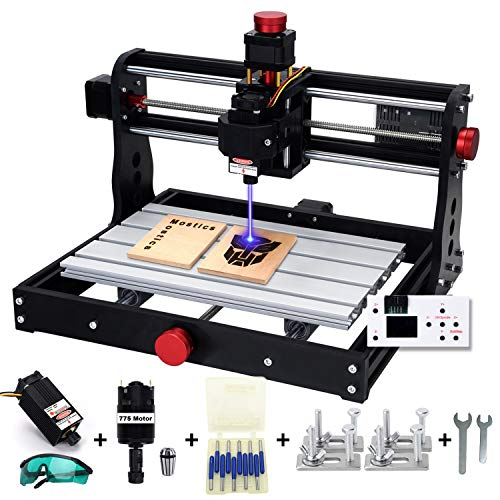 Mostics 2 IN 1 CNC 3018 Pro Fresadoras con módulo láser 5,5W Grabador del, CNC Grabador láser Máquina de grabado CNC Máquina de grabado láser CNC de talla CNC router De la máquina