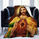 vipsung Sacred Heart Jesus Christ Throw Blanket Ultra-Soft Micro Fleece Blanket Movies Blanket for Bed Couch Living Room