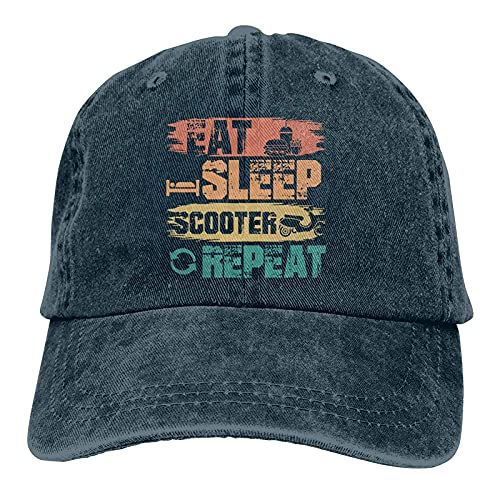 Gymini Eat Sleep Scooter Repeat Scooters Sombreros Algodón Lavable Gorras de béisbol Ajustable para Hombre Mujer Azul Marino