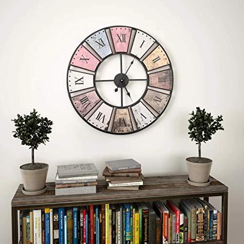 Cikonielf Reloj de Cuarzo de Pared Grande 60cm, Reloj de Pared Hueco de Números Romanos, Reloj de Metal Redondo para Hogar, Salón Estilo Vintage