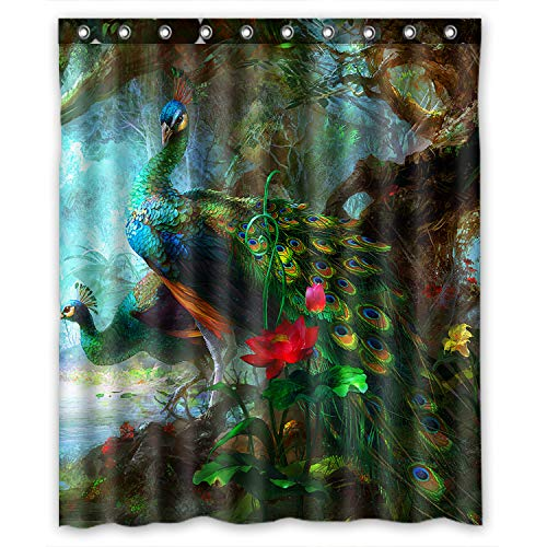 """Outlet-Seller Custom Charming Peacocks in the Jungle Waterproof Bathroom Fabric Shower Curtain 60"""" x 72"""""""