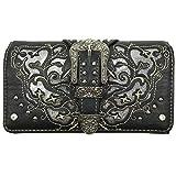 Western Gleaming Buckle Floral Cowgirl Women Crossbody Wrist Trifold Wallet (Black)