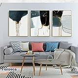 Pintura en lienzo Arte de la pared Carteles e impresiones dorados de flujo abstracto original Imágenes en blanco y negro para la decoración de la sala de estar (50X70cm) 3 piezas Sin marco