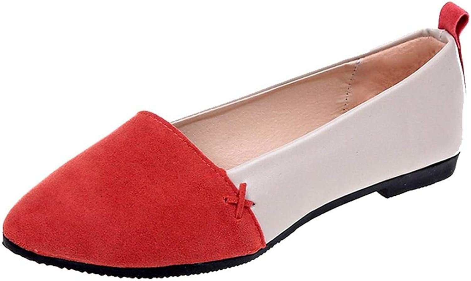 JaHGDU Mixed color Women shoes Flat with Shallow Mouth Suede Pointed Toe Single shoes Leisure Fashion Elegant Soft Wild Tight Super Quality for Womens