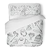 Emvency Bedding Duvet Cover Set Twin (1 Duvet Cover + 1 Pillowcase) Potter Different Witch Equipment Harry Birdcage Magic Wand Besom Bowler Broom Hotel Quality Wrinkle and Stain Resistant