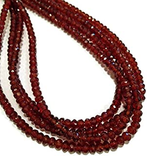 "Jewel Beads Natural Beautiful jewellery Hessonite garnet faceted rondelles. Approx 4mm. 4"" strand lengthCode:- JBB-32716"