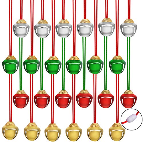 URATOT 24 Pieces Christmas Jingle Bell Necklaces Christmas Decoration Bell Necklaces with Connect Ribbons for Christmas Supplies