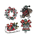 Toyvian 4pcs Spille di Natale Jingle Bell Wreath Decorazioni per slitte di Babbo Natale Sp...