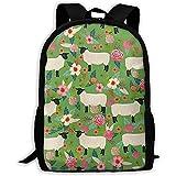 Suffolk Sheep Farm Tier Floral Laptop Bookbag, Reisetasche, wasserdichte Anti-Theft College...