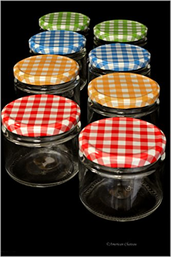 Set 8 Clear 10oz Jam Honey Mason Canning Jars with Colorful Gingham Lids