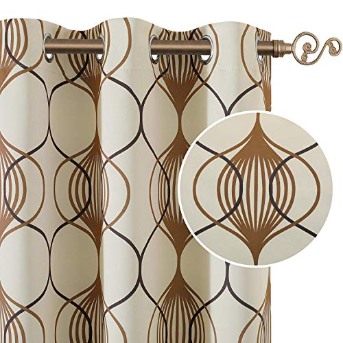 HOMEIDEAS 2 Panels Geo Pattern Curtains Taupe and Brown Blackout
