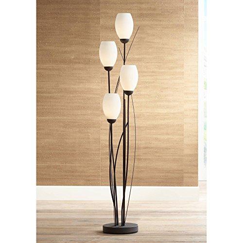 Modern Floor Lamp 4-Light Tree Ginger Black Tulip White Cased Glass Shades for Living Room Bedroom Uplight - Franklin Iron Works