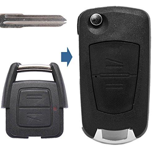 Carcasa de llave plegable con mando a distancia de 2 botones HU46, compatible con Opel