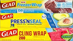 FOOD PLASTIC WRAP: Glad's Variety Pack has you covered with one 150 sqft FreezerWrap, one 75 sqft Glad Press'n Seal and one 200 sqft Glad ClingWrap PRESS'N SEAL PLASTIC FOOD WRAP: With a quick press of a finger, Glad Press'n Seal Food Wrap keeps food...