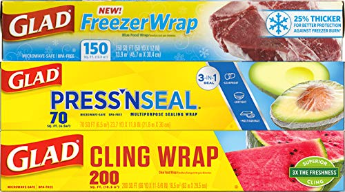 Glad® Plastic Food Wrap Variety Pack - Press'n Seal® Wrap - FreezerWrap - ClingWrap (Pack of 3)...