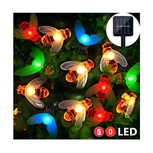 Solar Garden Lights, 50 Led Honey Bee Fairy String Lights, Outdoor Multi-Color Solar Powered Light, Waterproof Garden Stake Lights for Flower Fence, Patio Yard Decorative Lights