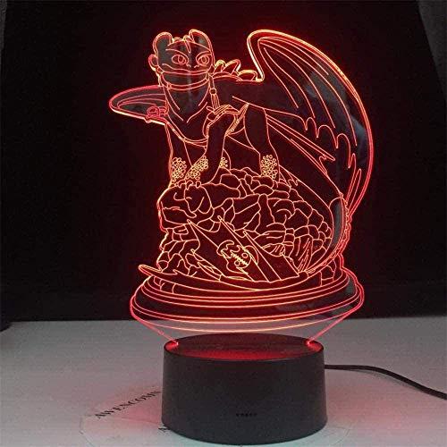 Luz nocturna 3D, ilusión óptica cómo entrenar a tu dragón regalos sin dientes, con 16 cambios de color y control remoto, regalos para niños a partir de 3 4 5 6 años