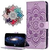 MRSTER Hülle Kompatibel mit Honor View 20, Premium Leder Flip Schutzhülle [Standfunktion] [Kartenfächern] PU-Leder Schutzhülle Brieftasche Handyhülle für Huawei Honor View 20. LD Mandala Purple