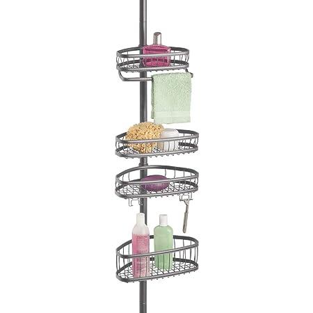mDesign Estante de ducha sin taladro – Estantería metálica ajustable en altura – Estante rinconero con 4 cestas ajustables – Práctica estantería ...