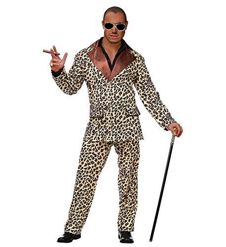shoperama Funky Leopard Anzug Pimp Herren-Kostüm Sakko Jacke Hose Fell Lude Zuhälter Stenz Gauner Assi Proll Disco Fever, Größe:XL