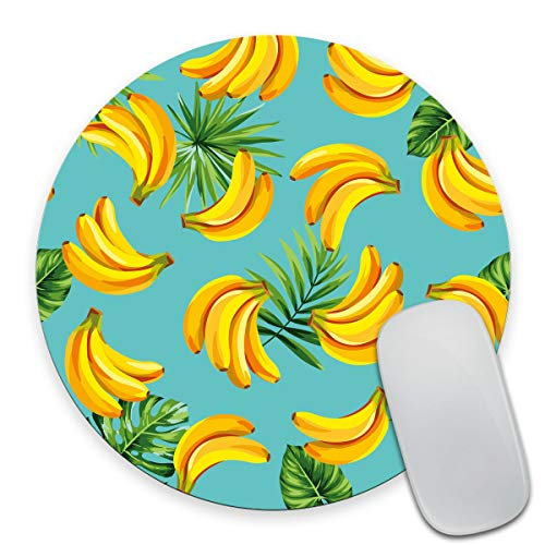 Smooffly Round Gaming Mouse Pad Custom Design, Tropical Palm Leaves and Bananas Non-Slip Rubber Mouse Pads Cute Mat Size 7.9 x 7.9 x 0.12 Inch
