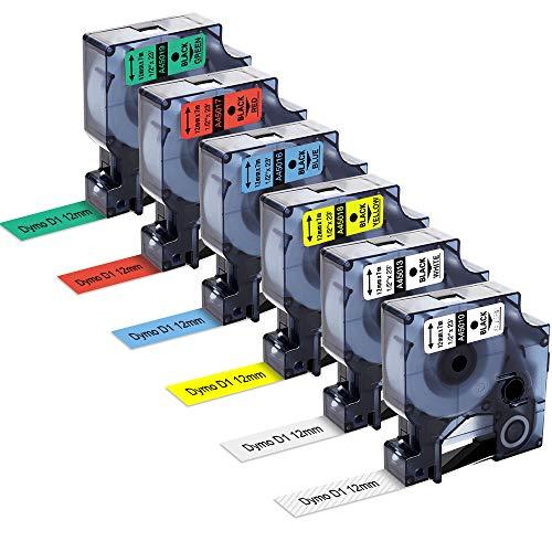 MarkFieldkompatible Etikettenband als Ersatz für Dymo D1 45013 Schriftband 12mm für Dymo Label Manager 160 210D 280 420P 360D 500TS PnP, LabelWriter 450 Duo, schwarz auf weiß