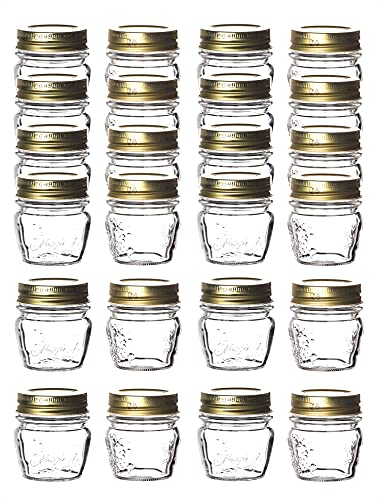 24 vasetti Bormioli Quattro Stagioni con coperchio a vite – 80 ml – adatti per TK – Mini vasetti per marmellate